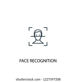 face recognition concept line icon. Simple element illustration. face recognition concept outline symbol design from Internet Security set. Can be used for web and mobile UI/UX