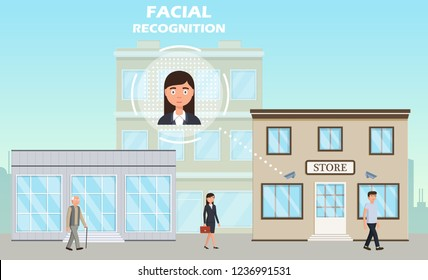 face recognition concept people walking street scanning by facial recognition camera person identification hardware