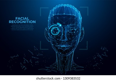 Face Recognition. Cyber women, Robot face. Facial Recognition System concept. biometric scanning, 3D scanning. Face ID. Identification of a person. Polygon vector wireframe concept. Virtual scan
