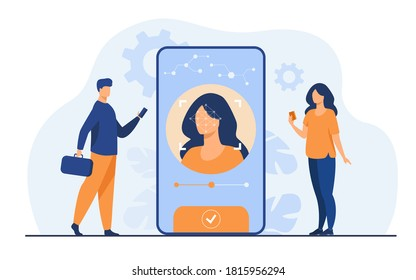 Face recognition and data safety. Mobile phone users getting access to data after biometrical checking. For verification, personal ID access, identification concept