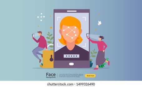 Face recognition data security design. facial biometric identification system scanning on smartphone. web landing page template, banner, presentation, social, poster, ad, promotion or print media.