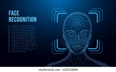Face Recognition. Facial Recognition System concept.  Biometric Identification or Recognition System of Person. Face ID. Polygon vector wireframe concept.