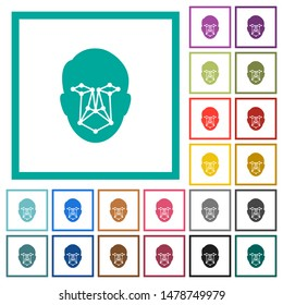 Face recognition flat color icons with quadrant frames on white background