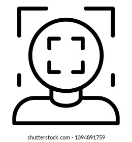 Face recognition frame icon. Outline face recognition frame vector icon for web design isolated on white background