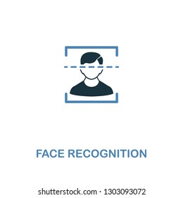 Face Recognition icon in 2 colors style design. Premium symbol from security icons collection. Pixel perfect Face Recognition icon for web ui and ux, apps, software usage.