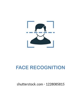 Face Recognition icon in two colors. Premium design from internet security icons collection. Pixel perfect simple pictogram face recognition icon for web design and printing.