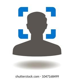 Face Recognition Icon Vector. Facial Identification Illustration. Faces Detection Logo. Scan Man Face Symbol.