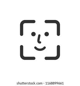face recognition, identification. monochrome icon