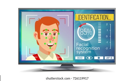 Face Recognition And Identification Vector. Technology. Face On Screen. Human With Polygons And Points. Scanning Security Illustration