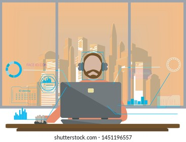 Face Recognition And Identification Vector,Biometric technology digital face scanning security -Illustration.