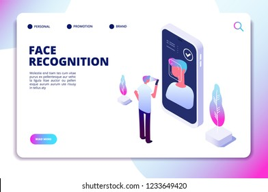 Face recognition isometric concept. Id verification smartphone scanner. Personal identify, face authentic reader vector landing page