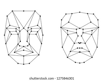 face recognition scanning grid . Human face grid artificial biometric access