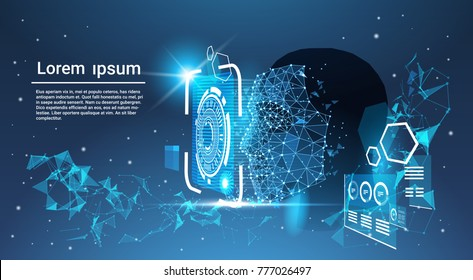 Face Recognition System Concept Low Polygon Human Face Scanning Blue Template Background With Copy Space Vector Illustration