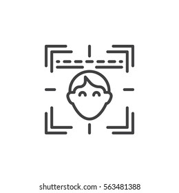 Face recognition system line icon, outline vector sign, linear pictogram isolated on white. Symbol, logo illustration