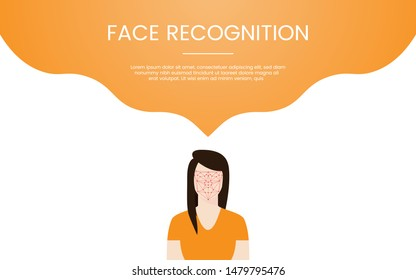 face recognition technology concept theme for template banner or landing homepage infographics - vector