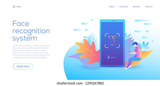 Face recognition technology in creative flat vector illustration. Smartphone id security system concept. Facial id or identification scanner in mobile phone. Web site landing page.