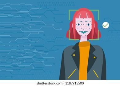 Face Recognition Technology. Scanning of a woman's face facial recognition.