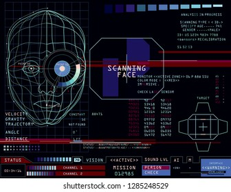 Face recognition technology. Sci-fi App HUD screen, concept illustration. Retrofuturistic interface design. Vector