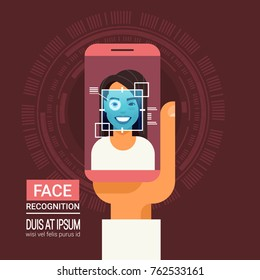 Face Recognition Technology Smart Phone Scanning Eye Retina Of Woman Biometric Identification System Vector Illustration