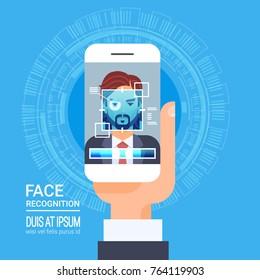 Face Recognition Technology Smart Phone Scanning Eye Retina Biometric Identification System Vector Illustration