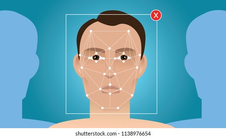 Face recognition. Vector illustration.