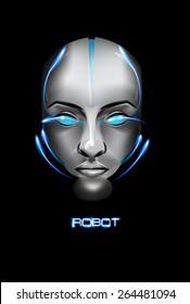 Face Robot girl on black background