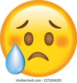 Face. Sad. Emoji. Cute emoticon isolated on white background.