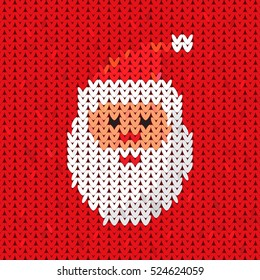 Face of Santa. Christmas knitted element in a flat style. easy to use