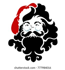 Face of Santa Claus vector. Happy Christmas icon. Celebration symbol