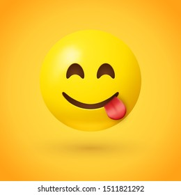 Face savoring food emoji with smiling eyes and a broad smile with tongue out in one corner, as if licking its lips in appetite - Used to convey that food is delicious or that a person is attractive