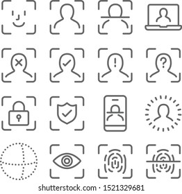 Face Scan Security icons set vector illustration. Contains such icon as Fingerprint Scan, Face Recognition, Eye Scan, Biometric Identity and more. Expanded Stroke