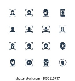 Face scanning and recognition vector icon set