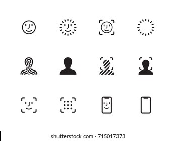 Face Scanning vector icons on white background. Vector illustration.