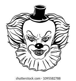 Face of a scary clown in a hat with an evil grin. Hand drawn vector illustration isolated on white.