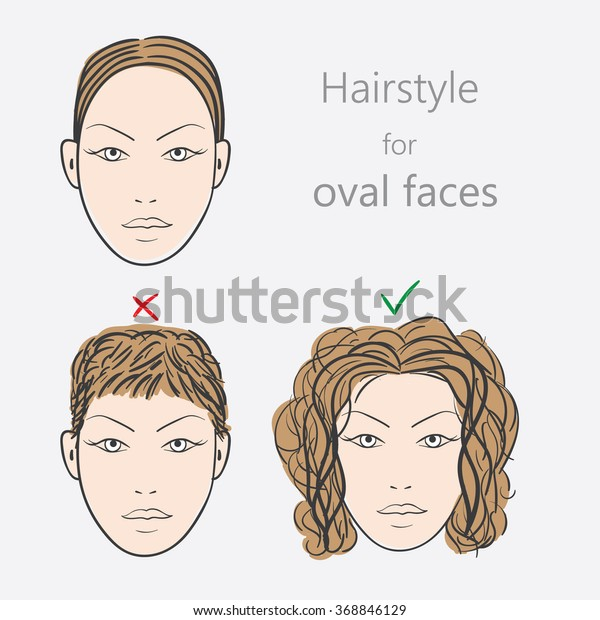 Face Shape Alternative Hairstyles Oval Face Stock Vector ...