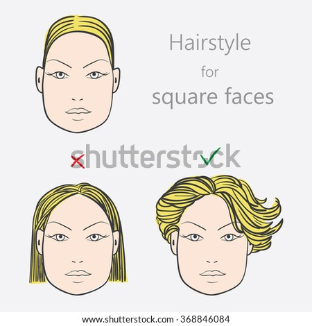 Face Shape Alternative Hairstyles Square Face Stock Vector Royalty