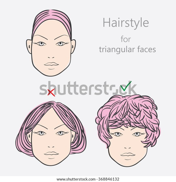 Face Shape Alternative Hairstyles Triangular Face Stock ...