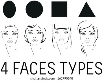 Face Shape woman faces beauty types set Portrait of beautiful woman tattoo style