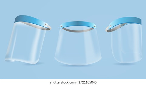 face shield against germs COVID-19 virus epidemic. face shield to protect medical. face shield protects against breathing bacteria virus COVID-19. face shield and bacteria vector on blue background