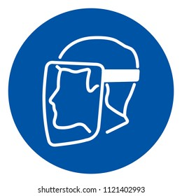 Face Shield Must Be Worn Symbol, Vector Illustration, Isolate On White Background Icon. EPS10