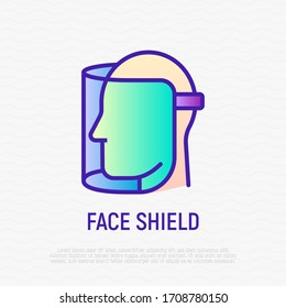 Face shield thin line icon. Transparent plastic mask. Protection from Covid-19. Vector illustration.