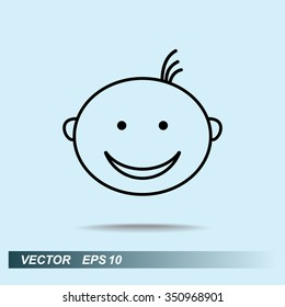 Face sign icon, vector illustration. Flat design style