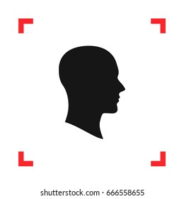 Face silhouette in profile in a red viewfinder isolated on white background. Conceptual vector illustration, easy to edit.