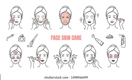 Face skin care icons. Makeup removal and dermatology infographic elements, facial masks and skincare cream. Vector illustration hand drawn symbol set for woman spa instruction apply