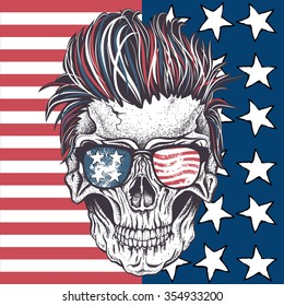 Face of skull with sunglasses and hairstyle on the abstract USA flag.Tattoo design. Vector illustration