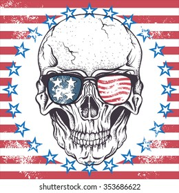 Face of skull with sunglasses on the abstract USA flag.Vector illustration