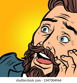 the face of a smiling bearded businessman. Comic cartoon pop art retro vector illustration hand drawing