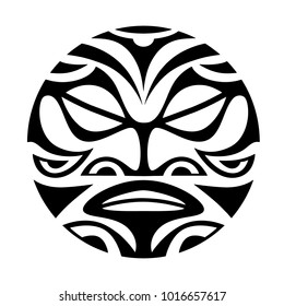 face, sun maori style tattoo
