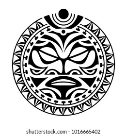 face, sun maori style tattoo, round ornament