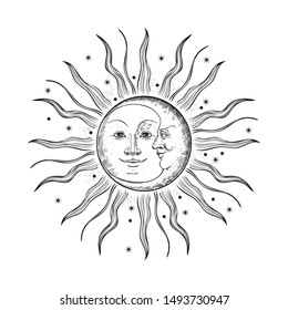 The face of the sun and moon. Retro illustration. Engraving, tattoo sketch. Rays and stars.